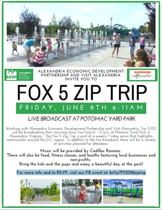 """FOX 5's """"Zip Trip"""" is returning to Alexandria, Virginia Friday, June, 8th broadcasting their morning show live from 6 – 11 a.m. at Potomac Yard Park in Alexandria, Virginia."""