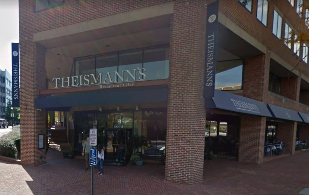 Theismann's, which islocated at 1800 Diagonal Roadnear the King Street Metro, has a 40 seat bar, GREAT food and beer,13 HUGEflat screen TVs, and agreat sports atmosphere.