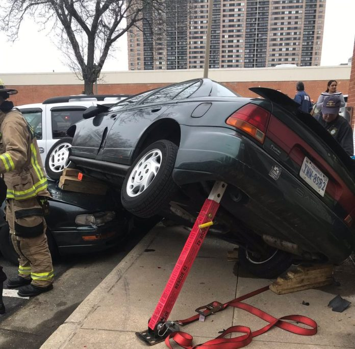 The Alexandria Fire Department rescued a car crash victim this morning after a car slammed into a building in the West End of Alexandria, Virginia.