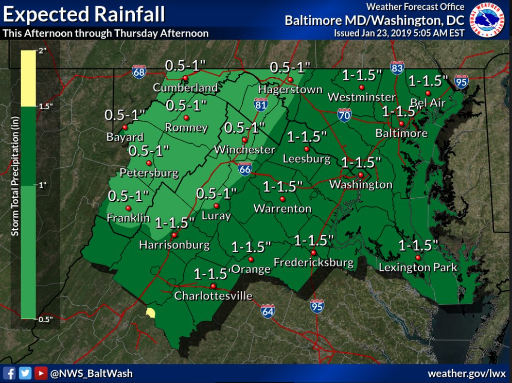 The National Weather Service(NWS) has issueda Flood Watchfor Alexandria, Virginia and the D.C. Metro area Thursday, January 24, 2019 from 4:00 a.m. to 3:00 p.m.